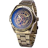 AMPM24 Men's Automatic Mechanical Watch Skeleton with Vintage Bronze Stainless Steel Band PMW369