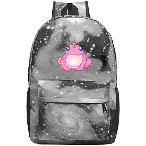 Pink Frogs Unicorn Laptop Backpack Fashion Travel Daypack Galaxy Canvas Backpack