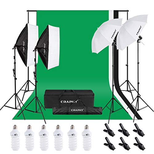 (CRAPHY 6 x 45W 5500K Umbrellas Softbox Continuous Lighting Kit with 8.5ft x 10ft Background Support System and Muslin Backdrop for Photo Studio Video Shoot, Portrait and Product Photography)