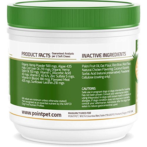 PointPet-Omega-3-6-9-Fish-Oil-for-Dogs-with-Organic-Hemp-Seed-Oil-Dog-Skin-and-Coat-Supplement-Helps-with-Dry-and-Itchy-Skin-Joints-Heart-and-Brain-Health-90-Soft-Chews