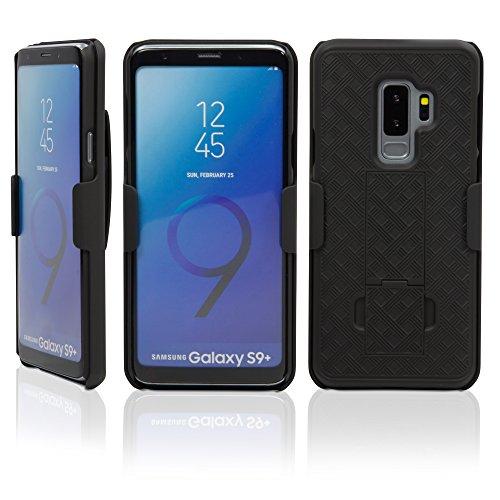 Samsung Galaxy S9 Plus Holster, BoxWave [Dual+ Holster Case] Shell Cover and Belt Clip Holster with Kickstand for Samsung Galaxy S9 Plus - Jet Black