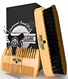 Facial Hair Styles For Thin Beards - Beard Brush & Mustache Comb Grooming Kit - Plus Facial Hair & Goatee Shaping Tool Template - Friendly Gift Box & Cotton Bag - Best Set Ever For Styling & Maintenance - Ideal for Home and Travel.