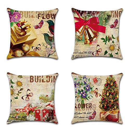 DZSW Throw Pillow Case, Decorative Cotton Linen Cushion Cover, 18″ X 18″ Square Pillow Covers for Sofa, Bed, Chair 4 Pack (Color : Christmas)