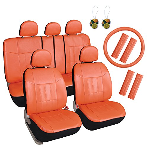 (Leader Accessories Leather Car Seat Cover 17pcs Combo Pack Full Set Orange Airbag Compatible with Shoulder Pads/Steering Wheel Cover)