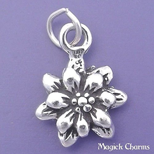 925 Sterling Silver 3-D Edelweiss Flower Charm Pendant Jewelry Making Supply, Pendant, Charms, Bracelet, DIY Crafting by Wholesale ()