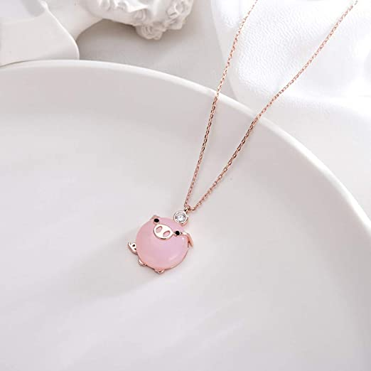Pig Necklaces For Women Cute Rose Gold Rose Crystal Pendant Lucky Gift V5Z8 T5E0