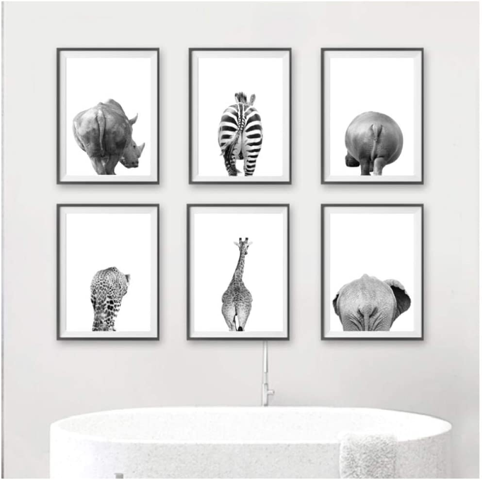 Mulmf Safari Animals Butt Black White Canvas Poster Bathroom Wall Art Pictures Animal Painting Prints Nursery Decor 20x30cmx6 Unframed Amazon Co Uk Kitchen Home
