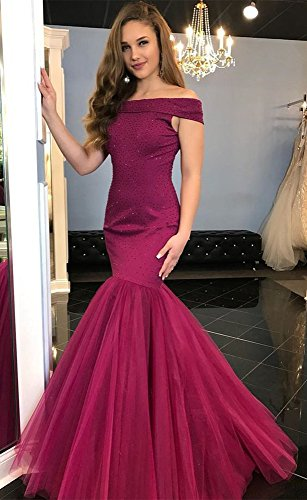 The Off Dressylady Beaded Dress Cyrstal Formal Prom Charming Mermaid Shoulder Evening Red EOOSq5rwxF