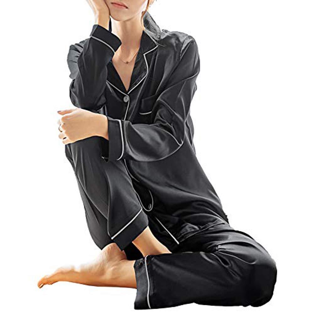 69dc99354259 Galleon - GAESHOW Women s Satin Silk Pajamas Set Long Sleeve Button-Down Pj  Set Sleepwear Nightwear Loungewear Two Piece Pj Sets