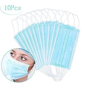 Máscaras desechables, máscara sellada con bucle elástico para los oídos, 3 capas transpirables, cómoda máscara quirúrgica sanitaria para uso al aire libre, oficina en el hogar, hospital -10 Pcs 6