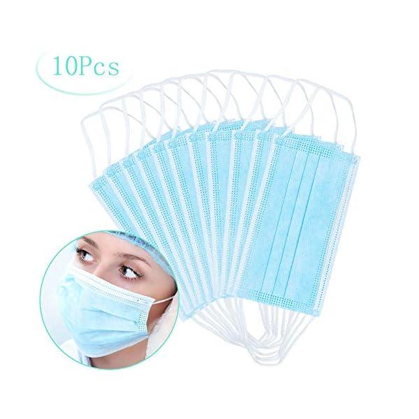 Máscaras desechables, máscara sellada con bucle elástico para los oídos, 3 capas transpirables, cómoda máscara sanitaria para uso al aire libre, oficina en el hogar-10 Pcs 1
