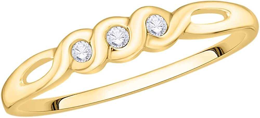 1//20 cttw, Size-3 G-H,I2-I3 3 Diamond Promise Ring in 10K Yellow Gold