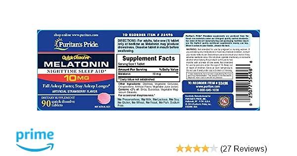 Amazon.com: Puritans Pride Quick Dissolve Melatonin 10mg Strawberry Flavor-90 Tablets: Health & Personal Care
