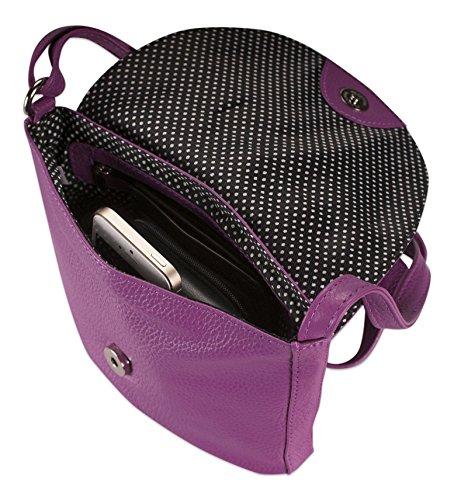Brunhide - Kleine sichere Tragetasche mit verstellbarem Träger für Damen - Echtes Leder - # 137-300 Beere LklAY