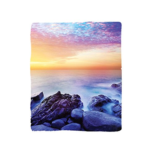 VROSELV Custom Blanket Seaside Dream Sky with Rainbow Colors in the Morning Seascape Fantasy Imaginary Planet Photo Bedroom Living Room Dorm Blue Purple