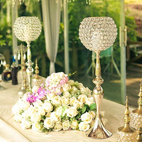 Efavormart 30″ Gold Acrylic Crystal Goblet Candle Holder Flower Ball Centerpiece