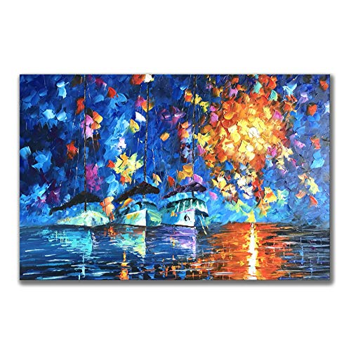 Zoyart Sailboat Artwork for Walls 24x36inch Hand Painted Abstract Oil Paintings on Canvas Wall Art Knife Painting Blue Abstract Wall Art Home Decor for Bedroom Living ()