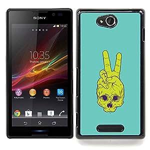 """Qstar Arte & diseño plástico duro Fundas Cover Cubre Hard Case Cover para Sony Xperia C (Cráneo de la Paz"""")"""