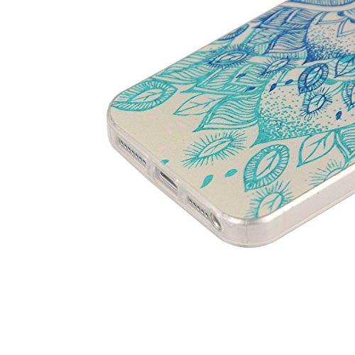 Für Apple iPhone 5 5G 5S / iPhone SE (4 Zoll) Hülle ZeWoo® TPU Schutzhülle Silikon Tasche Case Cover - YG009/ blaue Blume
