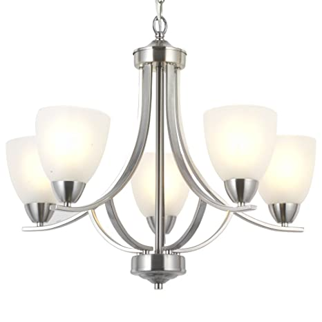 VINLUZ 5 Light Contemporary Chandeliers Brushed Nickel Modern Fixtures Ceiling Hanging Industrial Pendant Lighting For