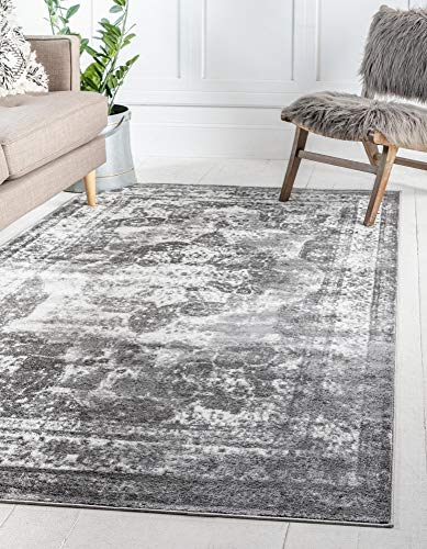 Unique Loom Sofia Collection Traditional Vintage Gray Area Rug (8' x 11') (Sale 10x13 Rugs Area)
