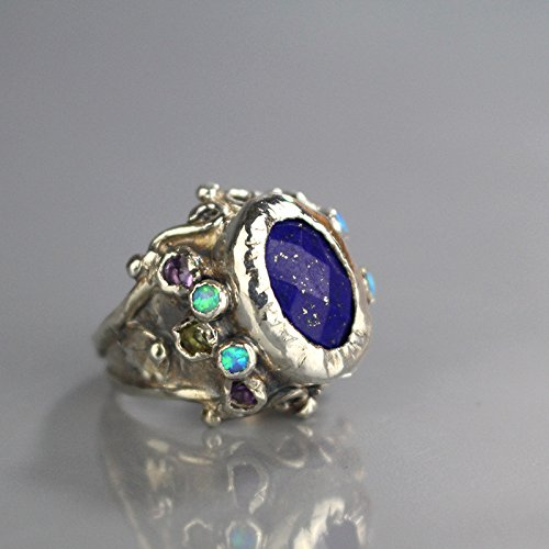 (Handcrafted Statement Lapis Queen Ring Sterling Silver Amethyst Peridot Opal, Antique Style Engagement Ring)