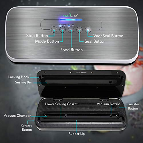 Vacuum Sealer by NutriChef | Automatic Vacuum Air Sealing System for Food Preservation w/Starter Kit | Compact Design | Lab Tested | Dry & Moist Food Modes | Led Indicator Lights (Silver)