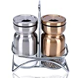 Salt and Pepper Shakers with Stand, Elegant Stainless Steel Salt and Pepper Dispenser with Adjustable Pour Holes