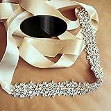 QueenDream Black Crystal sashes for wedding, Black Wedding Bridal Belt, Black Braided Rhinestone Sash
