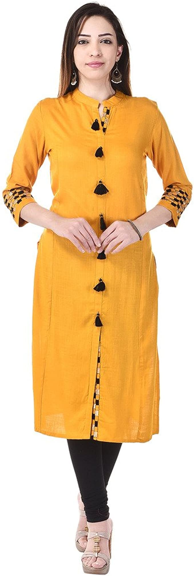 Vaachi women's printed semi anarkali regular fit cotton kurti pack of 1 (yellow) Women's Kurtas & Kurtis at amazon
