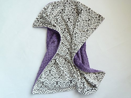 Personalize Double Minky Baby Blanket - Charcoal Damask Minky Front, You Choose SOLID COLOR minky