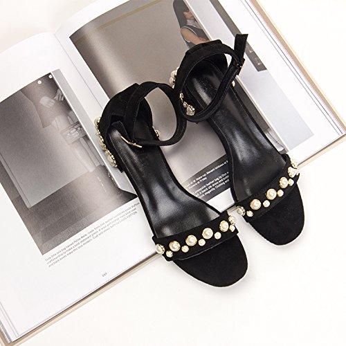 confortables verano Black altos amarillo heels tacones sandalias 5cm Moda 37 3 Mujer w5qg8RRt