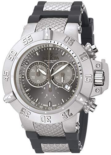 Invicta Men's 1382 Subaqua Noma III Chronograph Silver Grey Sunray Dial Grey Silicone Watch