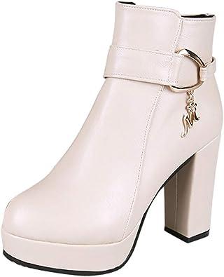 manadlian Chaussures Femme Hiver Bottes et Bottines Mode