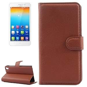 Solid color Funda Horizontal con tapa piel Case Cover con Card Holder Slots & & Wallet para Lenovo S850 (Brown)