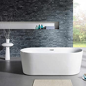maykke dewey 59 inches modern oval light acrylic bathtub easy to install white soaker tubs for bathroom cupc certified xda1408001