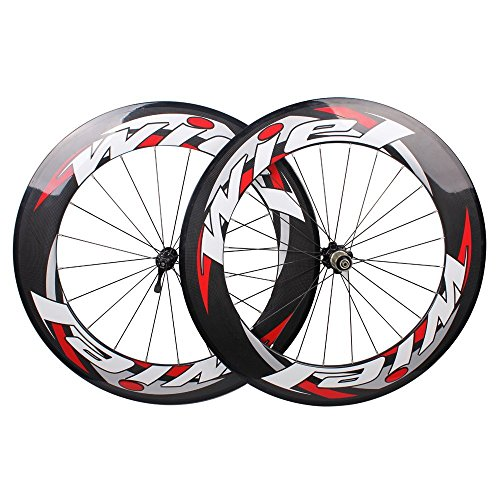 Carbon Fiber Rims (Wiel 700c 88mm Carbon Fiber Road Bike Tubular Wheels Bicycle Wheelset for Shimano - 3k Glossy Red White)