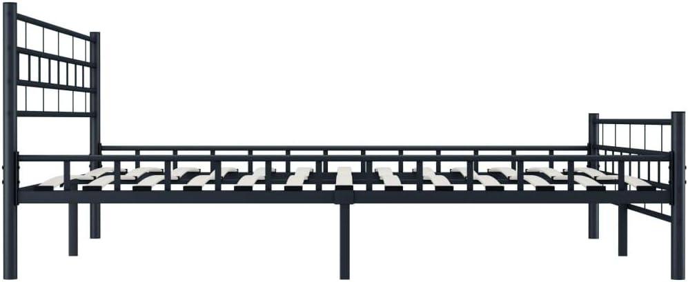 Festnight Cadre de Lit pour Adulte Lit en Acier Noir 160 x 200 cm