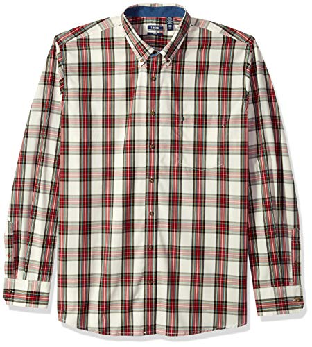 IZOD Men's Big Slim Fit Heritage Long Sleeve Button Down Tartan Shirt, New Vanilla, X-Large Tall