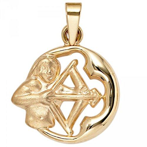 Pendentif signe du zodiaque Sagittaire en or jaune 375