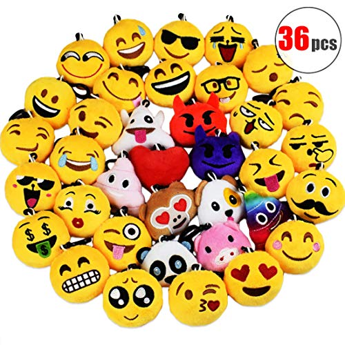 (Danirora Emoji Keychains, [36 Pack] Christmas Mini Emoji Plush Pillow Kids Birthday Party Favors Supplies Goodie Bag Fillers for Girl Carnival Prize)