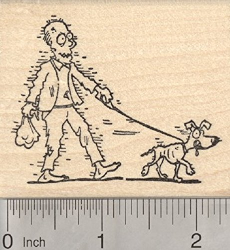 Halloween Zombie Rubber Stamp, Dog Walker ()