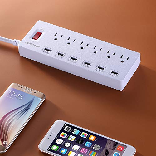 POWERADD Power Strip Surge Protector 6 Outlets & 6 USB Charging Ports, 6ft Heavy Duty Extension Cord, USB Outlet Extender for Home & Office 1625W/13A