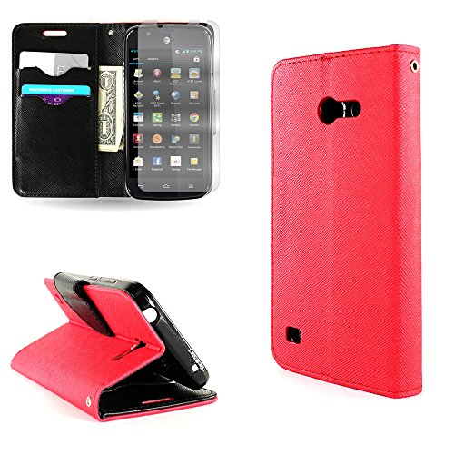 CoverON for Huawei Tribute/Fusion 3 Pouch Wallet Phone Case with Screen Protector and Credit Card Slots - Red + Black (Covers For Phone Y536a1 Huawei)