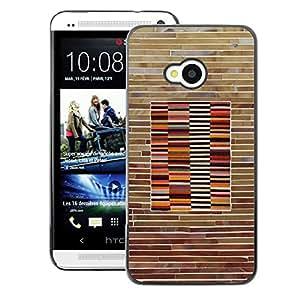 A-type Arte & diseño plástico duro Fundas Cover Cubre Hard Case Cover para HTC One M7 (Pattern Wood Brick Lines Horisontal)