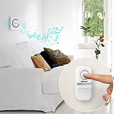 No Battery Required Wireless Doorbell, LED Flash Effect for Hearing Impaired, Waterproof 2 Plug-In Receivers and 1 Push Button, Perfect for Kids Elderly in Bedroom, Care home, Garden, 25 Chimes-White