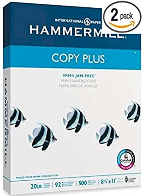 2 X Hammermill Copy Plus Multipurpose/Fax/Laser/Inkjet Printer Paper, Letter Size (8.5 x 11), 92 Brightness, 20 lb, Acid Free, Ream, 500 Total Sheets (105007)