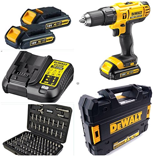 DEWALT 18V CORDLESS COMBI DRILL 2 SPEED XR LITHIUM COMPLETE WITH 3 LITHIUM...