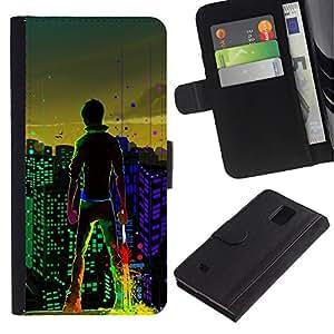 iKiki Tech / Cartera Funda Carcasa - Big City Boy Lights View Colors Windows Art - Samsung Galaxy Note 4 SM-N910