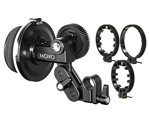 Movo F1X Precision Follow Focus System with 66mm, 77mm & 88mm Adjustable Gear Rings by Movo